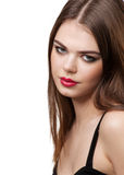 Beautiful woman with red lips Stock Photography