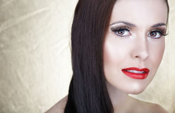 Beautiful woman with red lips stock images