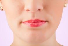 Beautiful woman red lips close up Royalty Free Stock Image