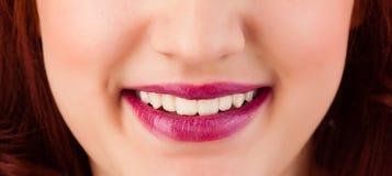 Beautiful woman red lips close up Stock Photo