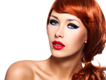 Beautiful woman with red lips and fashion eye makeup Stock Images
