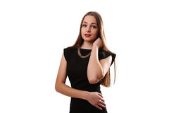 Beautiful woman with red lips in little black dress isolated on Stock Image