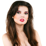 Beautiful woman with red lips Royalty Free Stock Image