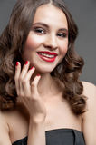 Beautiful woman with red lipstick Royalty Free Stock Photo
