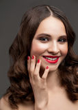 Beautiful woman with red lipstick Royalty Free Stock Photos