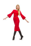 Beautiful woman in red long dress isolated on Stock Photos