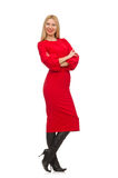 Beautiful woman in red long dress Royalty Free Stock Images