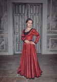 Beautiful woman in red long medieval dress Stock Images