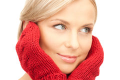 Beautiful woman in red mittens Royalty Free Stock Images