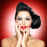 Beautiful woman with red nails Royalty Free Stock Images