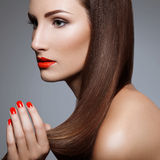 Beautiful Woman With Red Nails. Makeup and Manicure. Red Lips Stock Photos