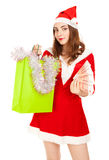 Beautiful woman in red new year costume with a lot of rubles Stock Images