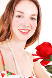 Beautiful woman with red, rose. Royalty Free Stock Photos
