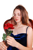 Beautiful woman with red rose. Stock Image