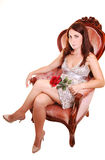Beautiful woman with red rose. Stock Images