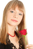 Beautiful woman with red rose isolated on white Stock Photo