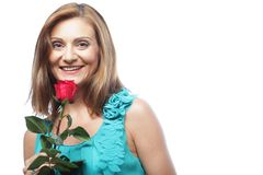 Beautiful woman with red rose Stock Photos