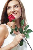 Beautiful woman with red rose Stock Photography
