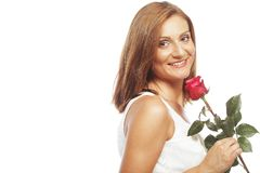 Beautiful woman with red rose Royalty Free Stock Images