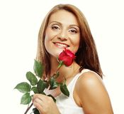 Beautiful woman with red rose Royalty Free Stock Photos