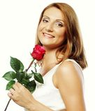Beautiful woman with red rose Stock Images