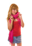 Beautiful woman in a red scarf Royalty Free Stock Image