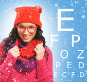 Beautiful woman with red scarf, hat and glasses Royalty Free Stock Images