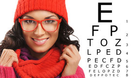 Beautiful woman with red scarf, hat and glasses Royalty Free Stock Photo