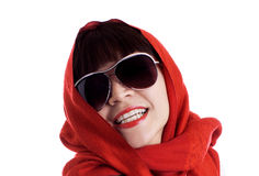 Beautiful woman with red scarf and sunglasses Royalty Free Stock Photo