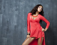Beautiful woman in red sexy dress Royalty Free Stock Images