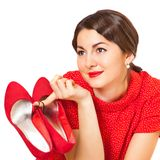 Beautiful woman with red shoes Stock Photo