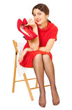 Beautiful woman with red shoes Stock Image