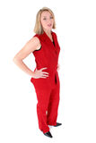 Beautiful Woman in Red Sleeveless Business Suit
