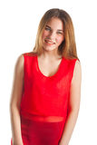 Beautiful woman in red. Smile Royalty Free Stock Images