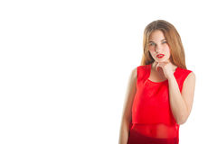Beautiful woman in red. Smile Royalty Free Stock Photography