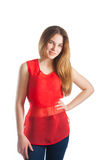 Beautiful woman in red. Smile Stock Images
