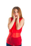 Beautiful woman in red. Smile Stock Photos