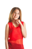 Beautiful woman in red. Smile Stock Photography