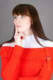 Woman in a red sweater Royalty Free Stock Photography