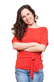 Beautiful woman in red t-shirt Royalty Free Stock Photography