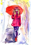 Beautiful woman in red walking in rainy day in park with umbrella. Hand painted watercolor illustration, Beautiful woman in red walking in rainy day in park with Stock Images