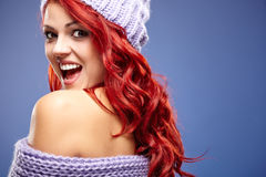 Beautiful woman redhair on blue Stock Image