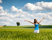 Beautiful woman rejoicing her freedom in nature Royalty Free Stock Photos