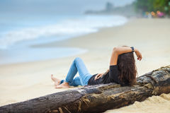 Beautiful woman relax on the beach Stock Images