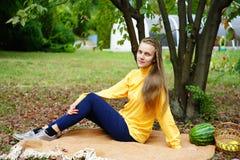 Girl autumn picnic royalty free stock image