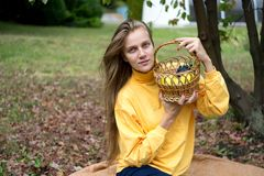 Girl autumn picnic royalty free stock photos