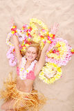 Beautiful woman relax in hawaii style Royalty Free Stock Images