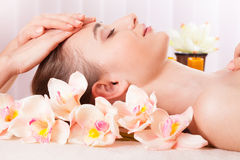 Beautiful woman relax in spa royalty free stock photography
