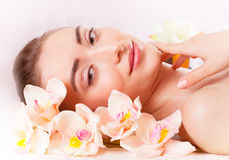 Beautiful woman relax in spa stock photo