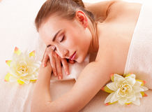 Beautiful woman relax in spa royalty free stock photo